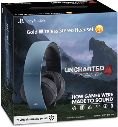 Wireless Gold Headset Gray Blue Uncharted 4